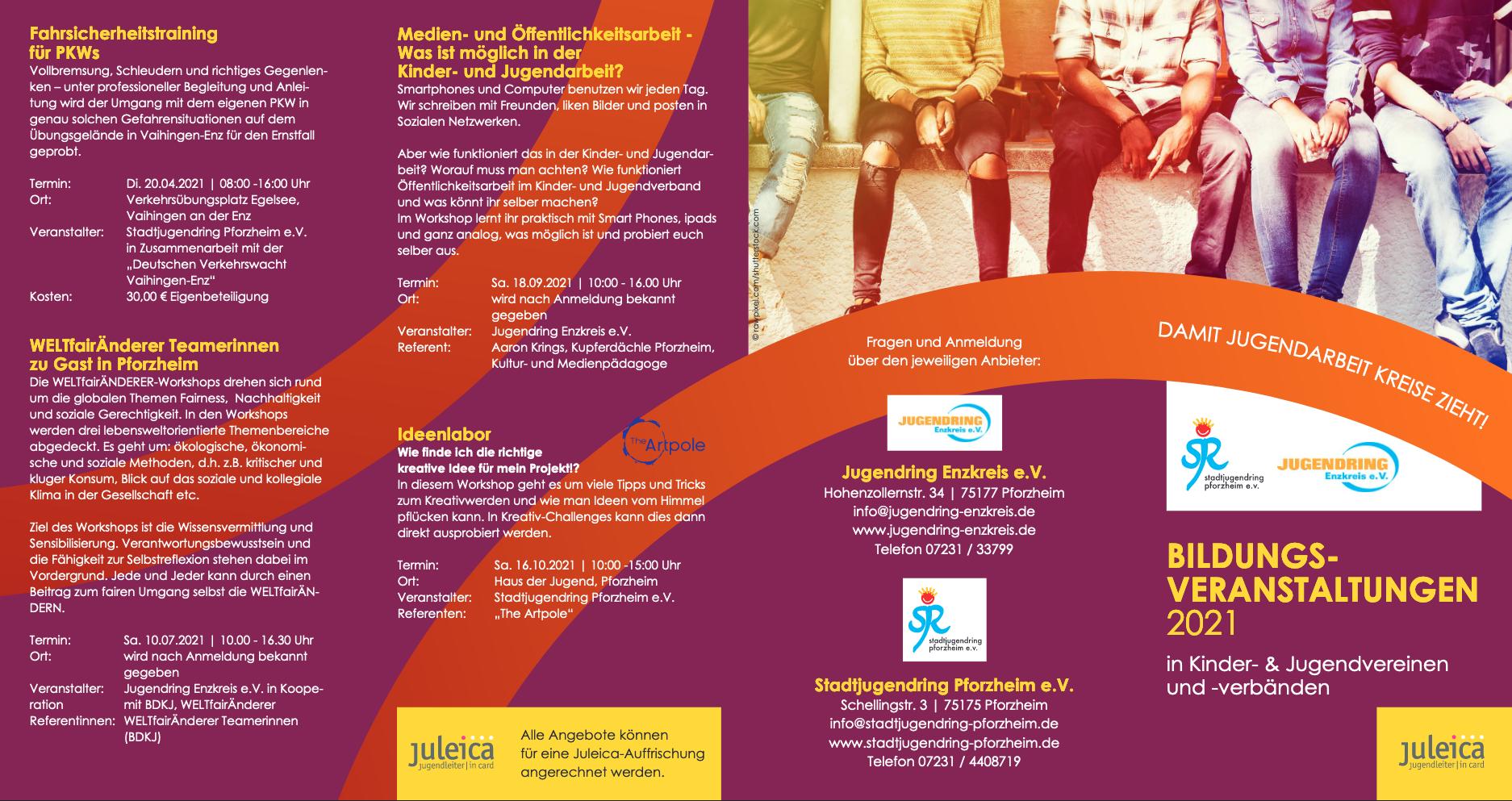 Jugendring Enzkreis - Flyer zur Bildungsreihe